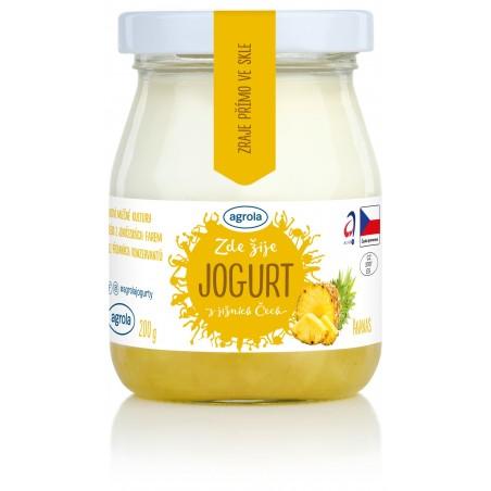 Agrola jogurt z jižních Čech ananas – sklo